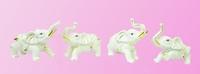 Фарфоровая фигура: набор из 4-х слоников, 2 цвета (фф-36)