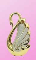Фарфоровая фигура: золотой лебедь с песком (фф-18)