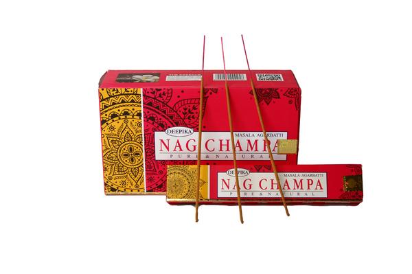 Благовоние пыльцовое Nag champa-Цветок чампа, (Deepika), 15 гр, 12 шт/уп (б-03-05)