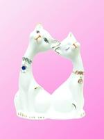 Фарфоровая фигура: коты с камнями, уши вместе (фф-31)