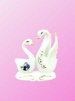Фарфоровая фигура:  лебеди с камнями, один с расправленными крыльями (фф-24)
