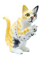 Кот поймал мышку и держит, 3 цвета (кн-90)