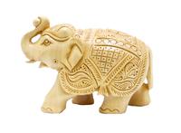 Слон из желтого дерева с резьбой, хобот вверх (сд-27)