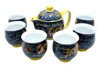 Фарфоровый набор: 6 чашек  и чайник  с двойной стенкой, рисунок дракона (фн-09)