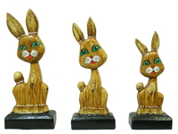 Набор зайчиков плоских на подставке, 3 цвета (з-32, з-33, з-34)