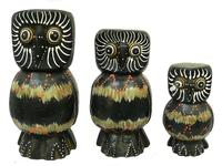 Набор коричневых сов, похожих на матрешку (с-57, с-58, с-59)