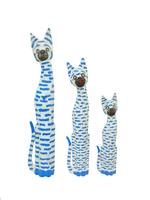 Набор белых котов с синими пятнышками (к-426, к-427, к-428)
