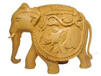 Слон из желтого дерева с резьбой на теле, 2 вида (сд-34)
