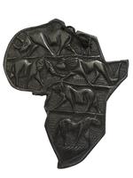 Карта Африки эбеновая с изображением животных, 4 вида (кэ-05)