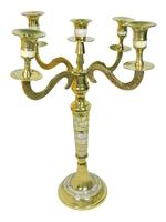 Латунный подсвечник с перламутром на 5 свече1 (пл-31)