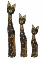 Набор коричневых котов с узором на шее и голове, хвостик в камнях (к-847, к-848, к-849)