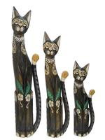 Набор котов с камешками на шее и цветами на теле (к-865, к-866, к-867)