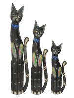 Набор котов с синими камешками на шее и цветными ящерицами на теле (к-877, к-878, к-879)