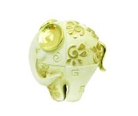 Фигурка: слон белый с золотистыми ушами и цветочками на теле, маленький (пф-19)