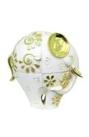 Фигурка: слон белый с золотистыми ушами и цветочками на теле (пф-18)
