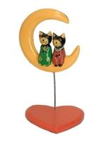 Два котика сидят под луной на сердце (кн-210)