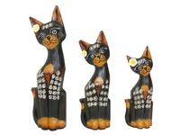 Набор коричневых котиков с цветком (кн-193, кн-194, кн-195)
