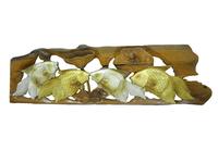 Панно тиковое: 2 золотых  и 2 серебряных карася, 2 вида (пт-126)