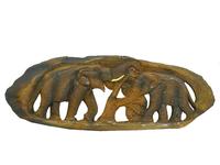 Панно тиковое: 2 слона (пт-119а)