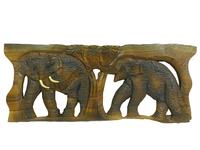 Панно тиковое: 2 слона (пт-119б)