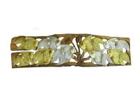 Панно тиковое: 5 золотых  и 4 серебряных рыб (пт-129)
