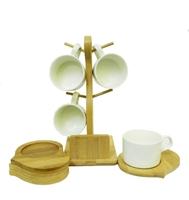 Набор чашек с бамбуковыми подстаканниками на 4 персоны (нп-07)