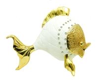 Рыба белая с золотом или серебром и стразами (рз-02)