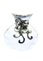 Ваза керамическая с серебром, горлышко с дырками (вк-128)