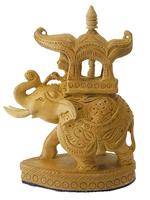 Слон из желтого дерева с наездником и львом, (Индия), (сд-39)