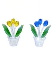 Три хрустальных тюльпана в вазе 0,11*0,1*0,1 (хц-05)