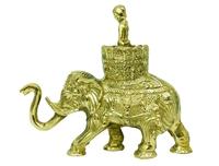Слон латунный с корзиной и наездником (сл-17)