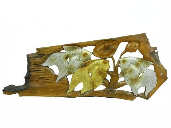 Панно тиковое: 2 золотых и серебряных рыб (пт-125)