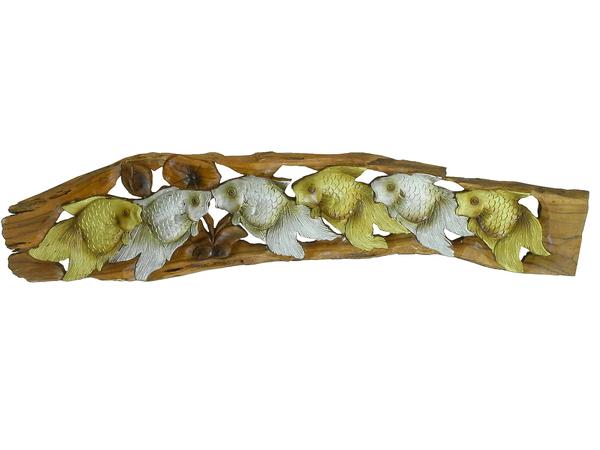 Панно тиковое: 3 золотых и 3 серебряных карася (пт-132)