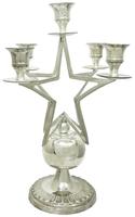 Подсвечник латунный со звездой на 5 свечей, серебристый (пл-33)