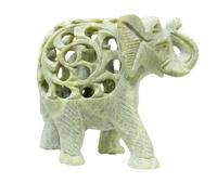 Слон каменный резной с отверстиями и со слоником внутри (ск-51)