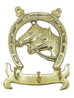 Подкова латунная с лошадью и вешалкой для ключей (пл-92)