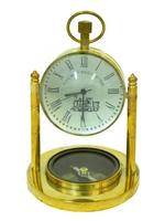 Часы латунные с компасом в увеличительном стекле (чл-19)