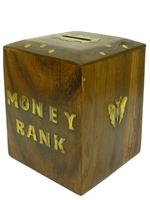 """Копилка деревянная: бокс с надписью """"Money Bank"""" (кд-57)"""