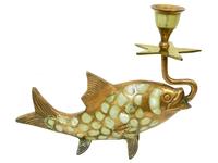 Подсвечник латунный в виде рыбки с перламутром (пл-88)