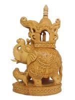 Слон из желтого дерева с корзиной, львом и наездником (сд-32)