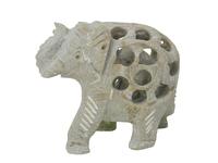 Слон каменный резной с отверстиями и со слоником внутри (ск-52)