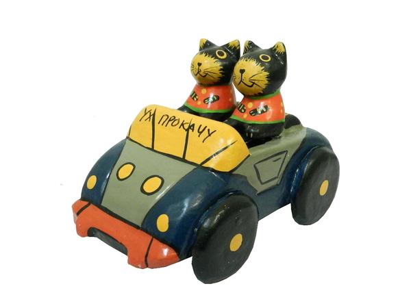 """Коты на машине с надписью """"Жизнь - клевая штука"""" и """"Ух, прокачу"""" (кн-59)"""