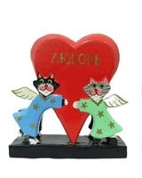Два котика-ангела держат сердце - салфетница (кн-128)