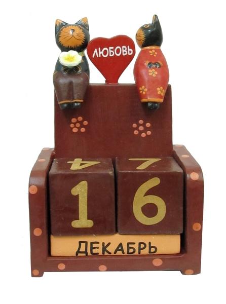 """Календарь с сидящими на нем котиками и сердцем с надписью """"Любовь"""" (ка-21)"""