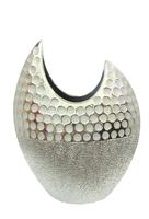 Ваза керамическая, 2 цвета с серебром, горлышко с вырезом (вк-138)