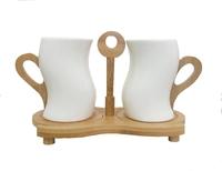 Набор чашек с бамбуковыми подстаканниками и ручками на 2 персоны (нп-11)
