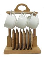 Набор чашек с бамбуковыми подстаканниками на 6 персон (нп-12)