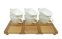 Набор чашек для чая с бамбуковыми подстаканниками и подносом на 6 персон (нп-08)
