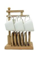Набор чашек для чая с бамбуковыми подстаканниками на 6 персон (нп-13)