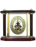 Канцелярские принадлежности: прозрачные часы в золоте и дереве (кп-62)
